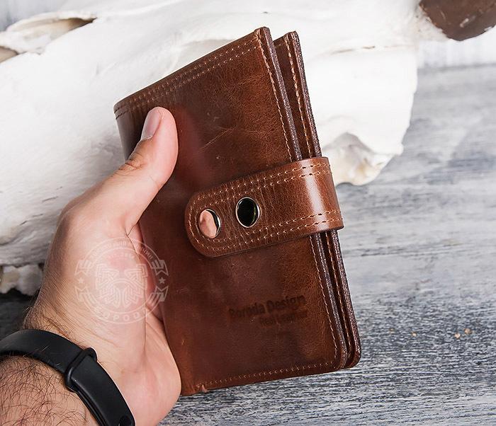 WL283-2 Крутое мужское портмоне ручной работы из кожи фото 12