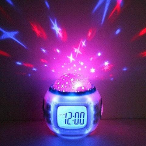 музыкальные часы с проектором звездного неба лед