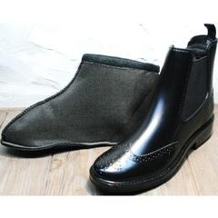 Резиновые ботинки женские утепленные W9072Black.