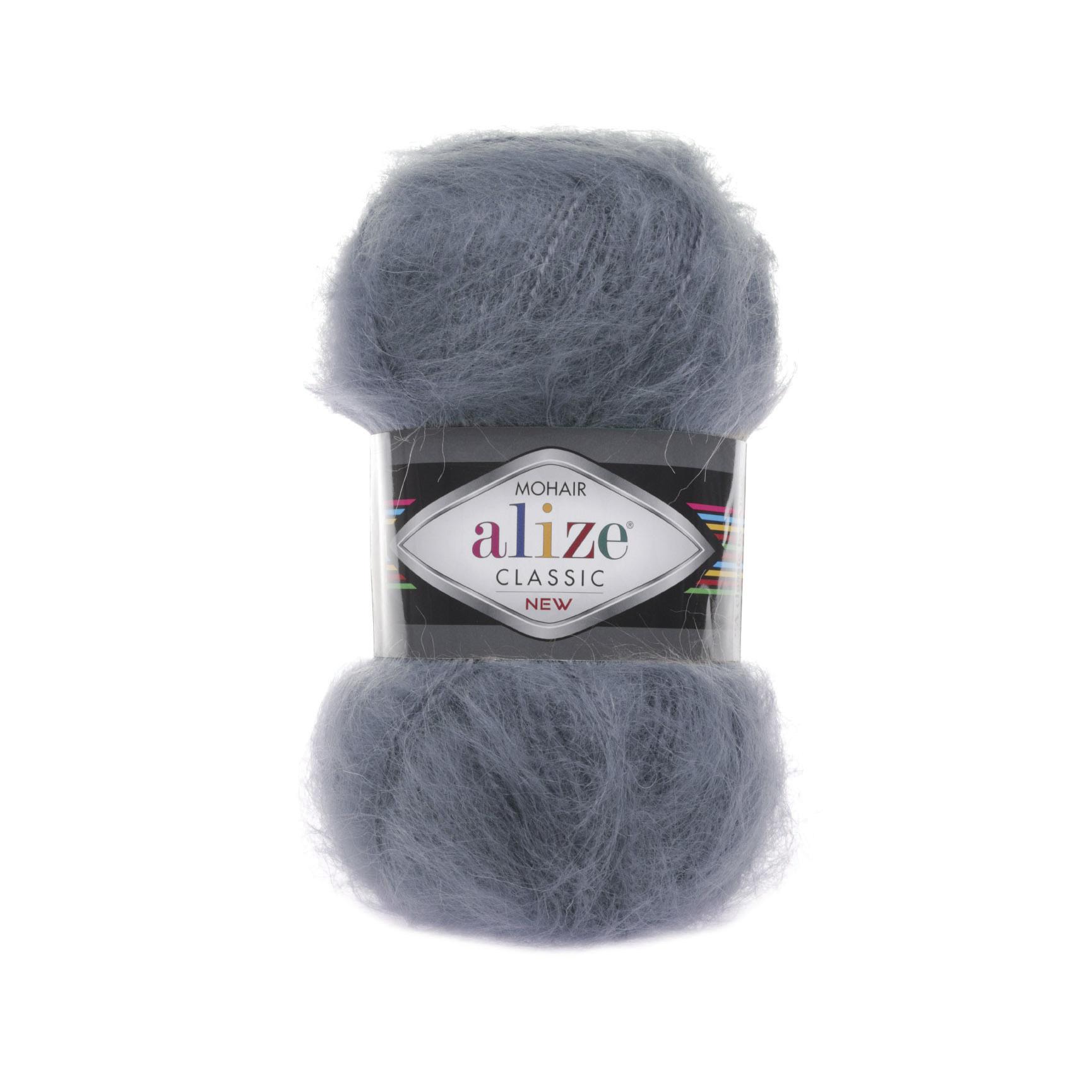 Пряжа Alize Mohair Classic New 87 темно-серый
