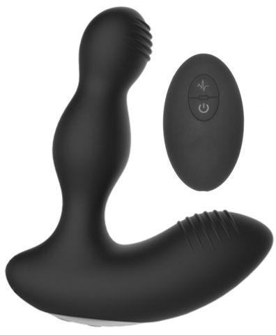 Черный массажер простаты с электростимуляцией и пультом ДУ Prostate massager