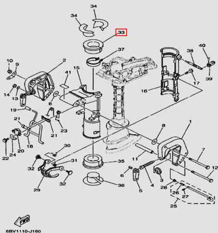 Втулка резиновая нижняя 90X79X52X29.5 для лодочного мотора F5 Sea-PRO(16-33)