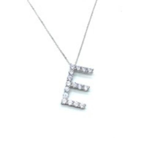 Подвеска из серебра с ослепительными цирконами буква E