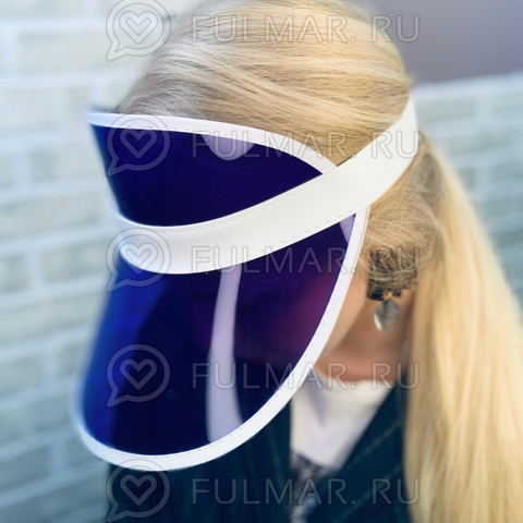 Козырёк от солнца на голову пластиковый прозрачный Фиолетовый