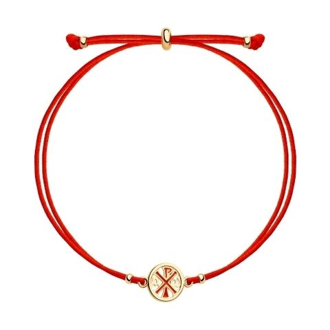 Браслет-красная нить с круглой подвеской из золоченого серебра