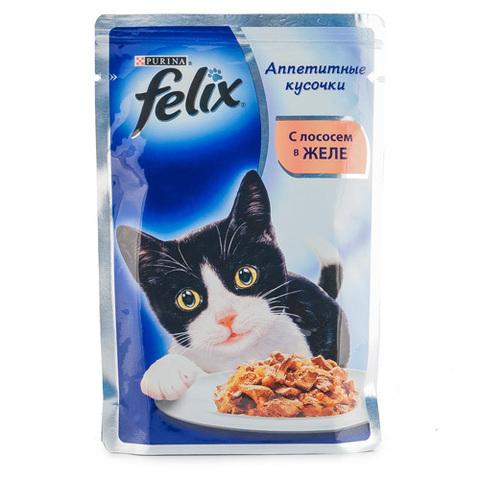 """Корм для кошек Felix """"С лососем в желе"""" 85г"""