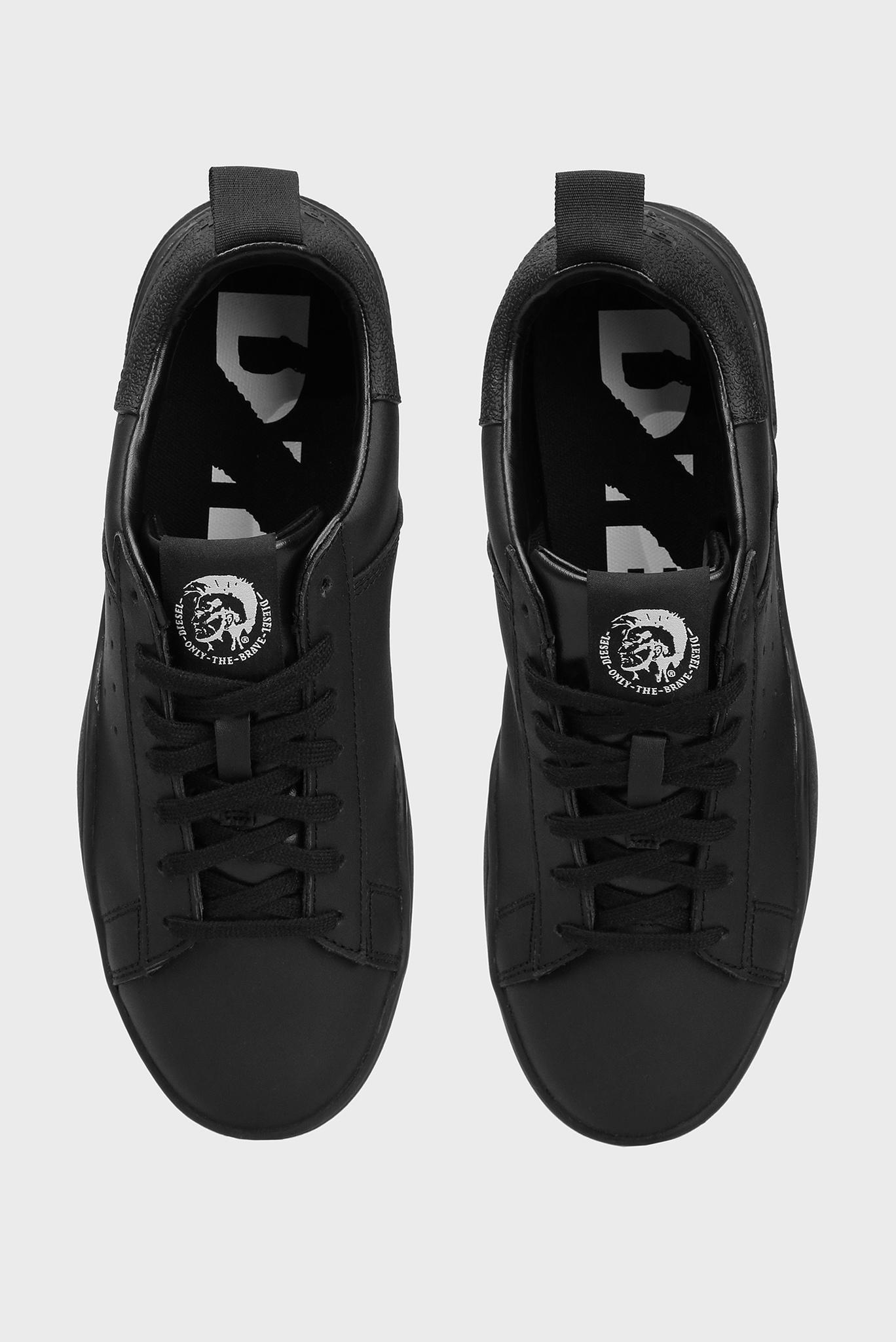 Мужские черные кожаные сникеры Diesel