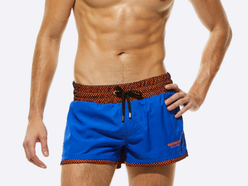 Мужские пляжные шорты SEOBEAN сине-красные
