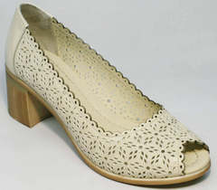 Туфли с открытым носком на толстом каблуке 5 см женские летние Sturdy Shoes 87-43 24 Lighte Beige.