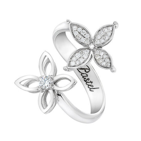 Кольцо с двумя цветами, серебро