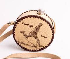 Фляга круглая в кожаном чехле «Football-2018», 0,5 л, фото 3