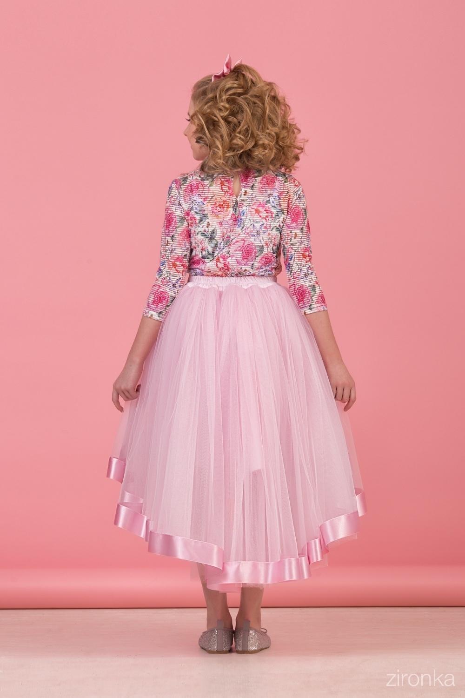 Комплект (блузка, майка, юбка) для девочки 64-8005-2