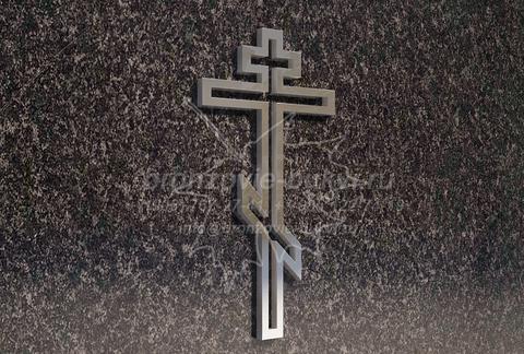 Контурный крестик из нержавейки на памятник, 12 см
