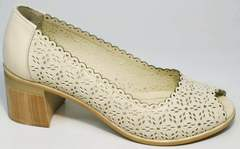 Туфли женские каблук 5 см летние Sturdy Shoes 87-43 24 Lighte Beige.