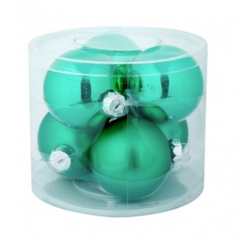 Набор шаров 6шт. в тубе (стекло), D8см, цветовая гамма: зелёные