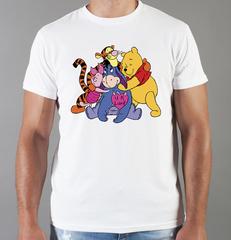 Футболка с принтом мультфильма Винни-Пух, Ослик Иа-Иа, Пятачок, Тигра (Winnie the Pooh) белая 0025