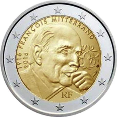 2 евро. Франция. 100 лет со дня рождения и 20 лет со дня смерти Франсуа Миттерана. 2016 г.