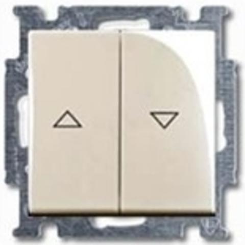 Выключатель для жалюзи, с механической блокировкой, с фиксацией. Цвет слоновая кость. ABB Basic 55. 1012-0-2147
