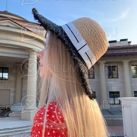 Женская шляпа канотье соломенная Чёрная с белой лентой
