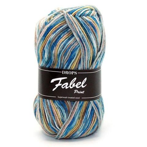 Пряжа Drops Fabel 910 серо-голубой - бежевый - фисташковый