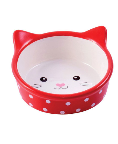 №1 Миска керамическая кошачья мордочка (красная)