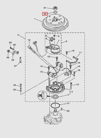 Шайба гайки маховика  для лодочного мотора T40 Sea-PRO (8-22)