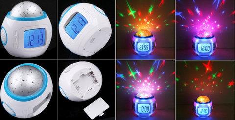 светодиодные музыкальные часы с проектором звездного неба лед