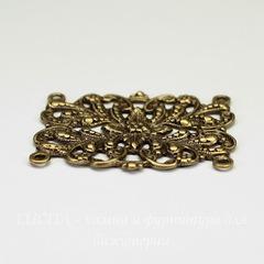 Винтажный декоративный элемент - коннектор (2-2) 36х27 мм (оксид латуни)