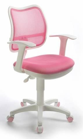 спинка сетка розовый сиденье розовый TW-13A колеса белый/розовый (пластик белый)