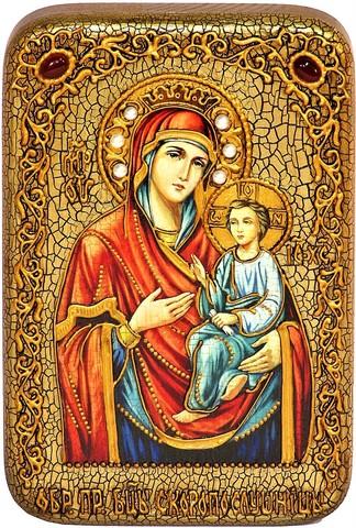 Инкрустированная рукописная икона Божией Матери Скоропослушница 15х10см на натуральном дереве, в подарочной коробке