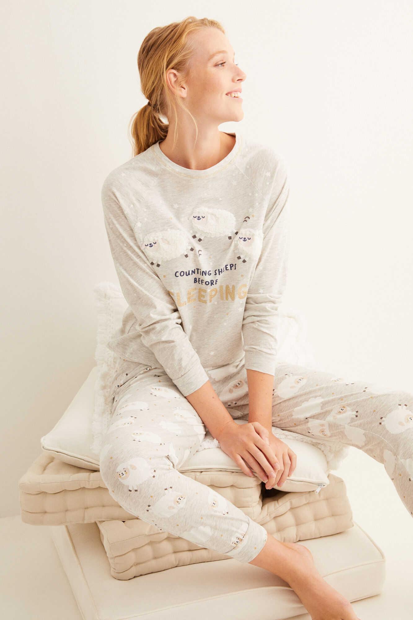 Довга піжама з бавовни з вівцями