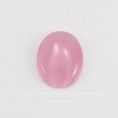 Кабошон овальный Кошачий глаз розовый, 10х8 мм ()