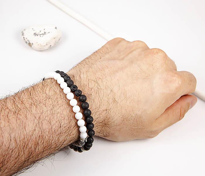 BS905 Двойной браслет ручной работы из разных камней фото 06