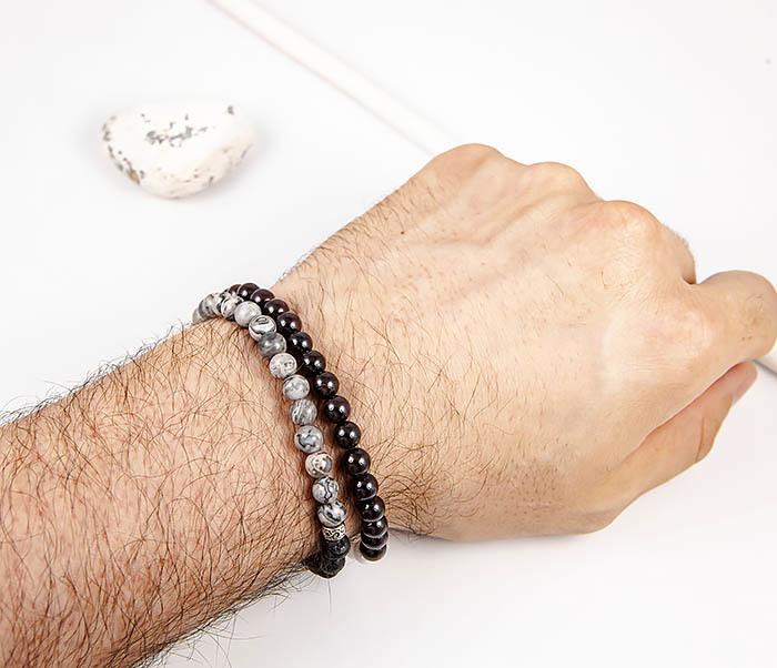 BS905 Двойной браслет ручной работы из разных камней фото 07