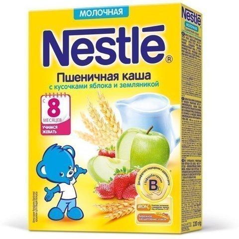 Nestlé® Молочная пшеничная каша с кусочками яблока и земляникой