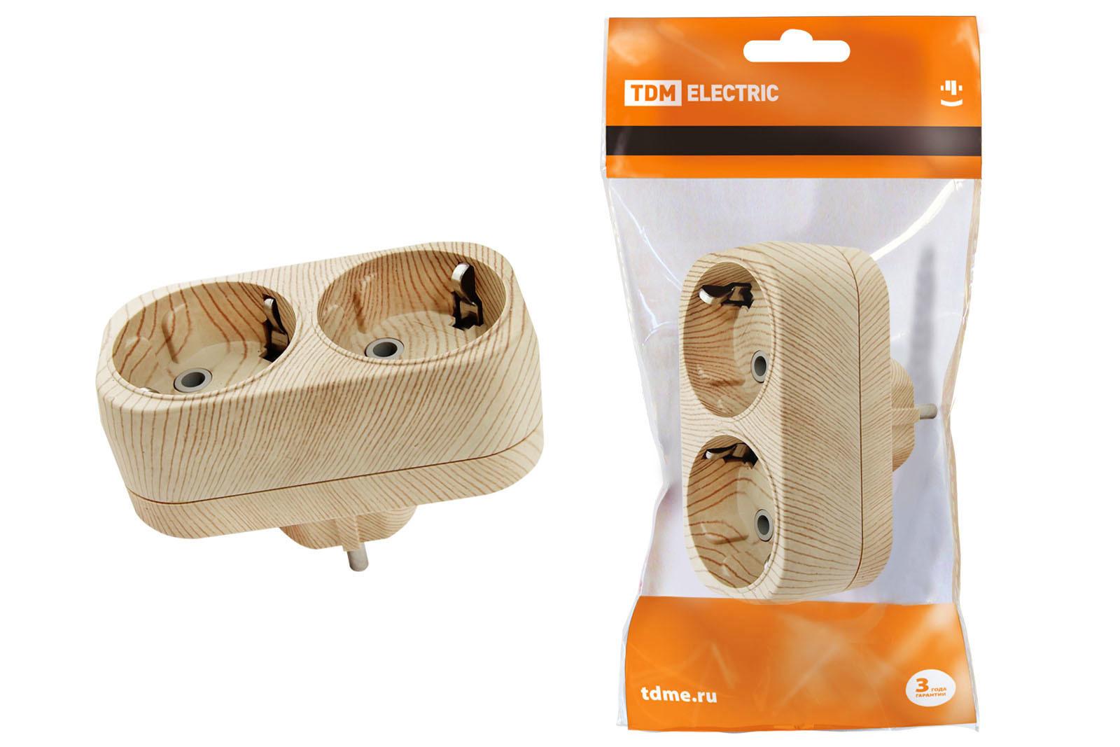Блок на 2 гнезда 2П+З плоский 16А 250B Эко
