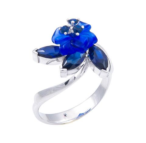 Кольцо с цветами из кварца и сапфиром Арт. 1212сс