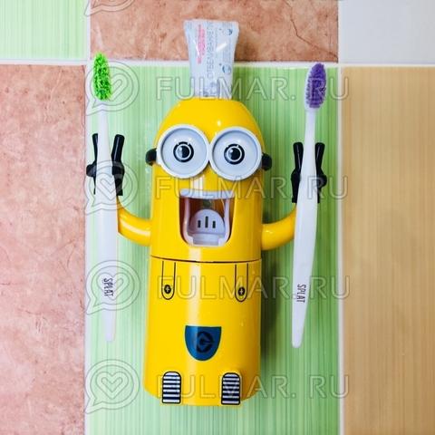 Дозатор для выдавливания зубной пасты с держателем щеток и стаканом Миньон
