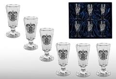 Набор хрустальных рюмок «Старорусский» с оловянным барельефом «Двуглавый орел»