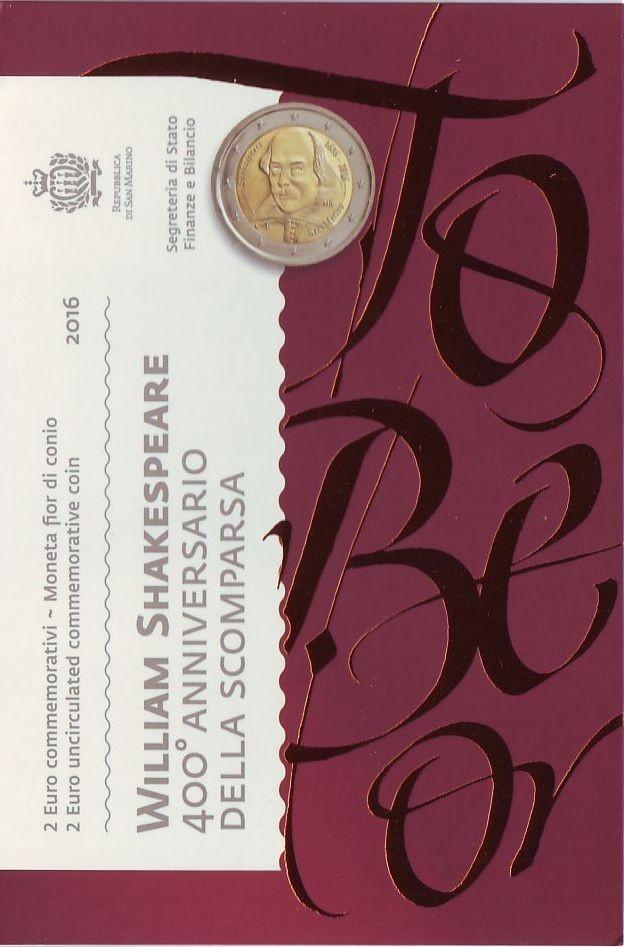 2 евро 2016 Сан-Марино - Шекспир (в буклете)