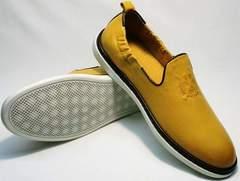 Мужские стильные туфли с белой подошвой King West 053-1022 Yellow-White.
