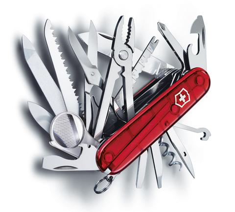 Нож Victorinox SwissChamp, 91 мм, 33 функции, полупрозрачный красный