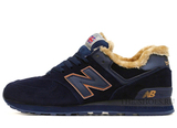 Кроссовки Мужские New Balance 574 Navy White Suede Winter Edition (С Мехом)