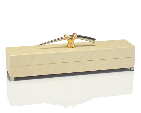 Cream Box with Gold and Nickel Handle