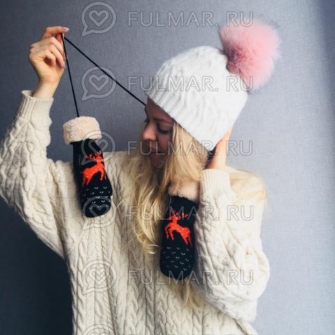 Варежки с оленями шерстяные (Цвет: чёрно-оранжевый)на верёвочке