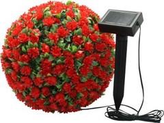 Cветильник уличный светодиодный на солнечной батарее Feron «Цветочный шар», красный