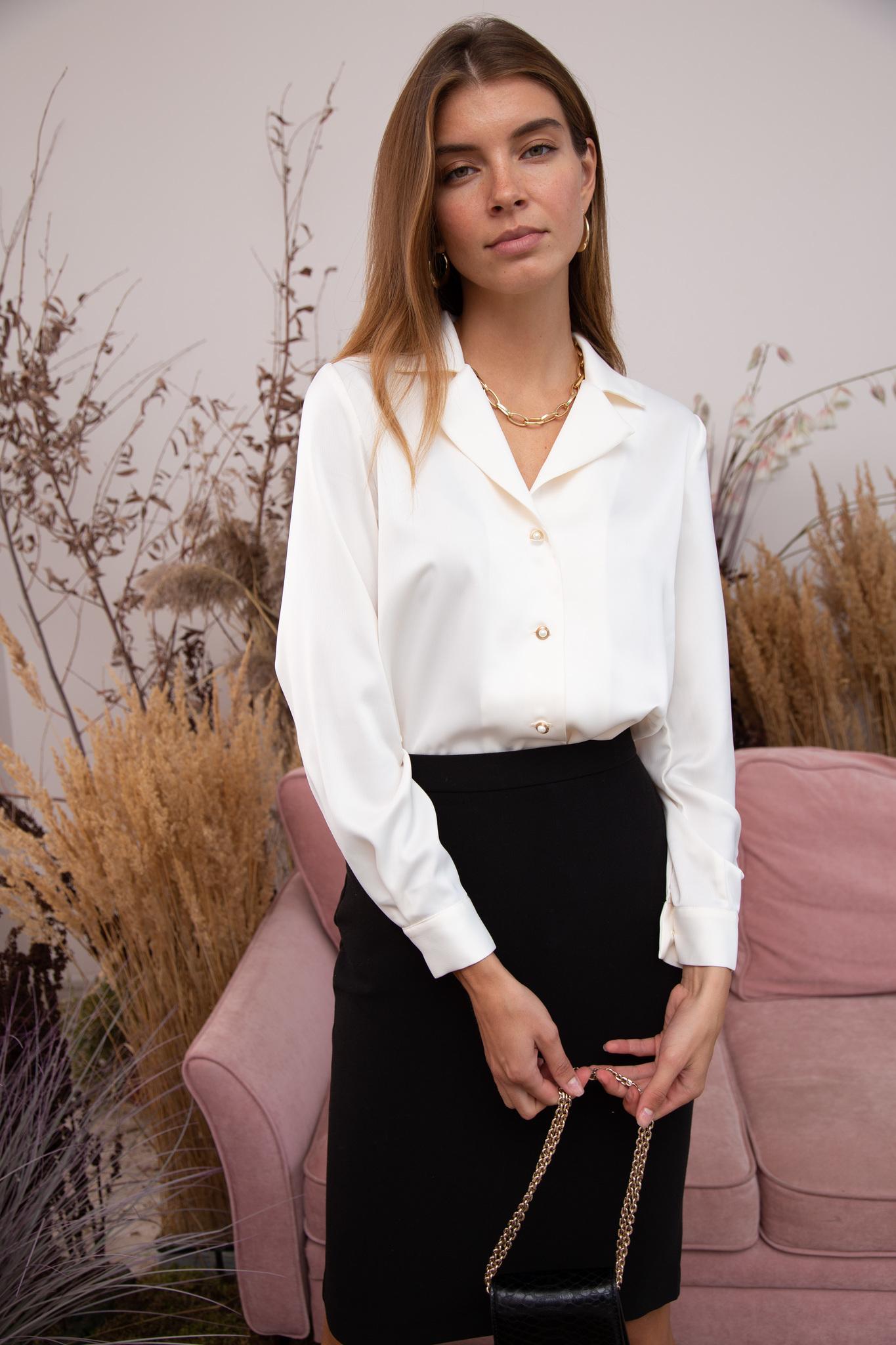 Рубашка с английским воротником и длинным рукавом (айвори)