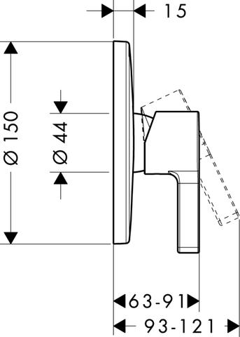 Смеситель для душа Hansgrohe Metris S,  31665000 схема