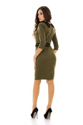 Трикотажное платье миди, цвета хаки 1