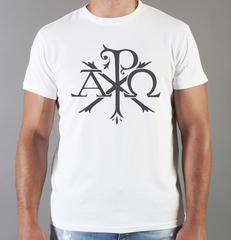 Футболка с принтом Альфа и Омега, Рыбка, Христианство, Православие, Христианские символы, белая 007